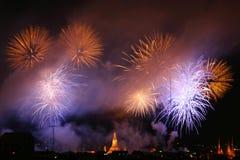 Fireworks Exploding. At Bangkok, Thailand Royalty Free Stock Images