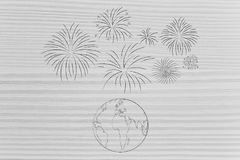 Fireworks exploding above planet Earth Royalty Free Stock Photo