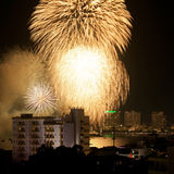 Fireworks Exploding At Pattaya Stock Image