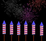 Fireworks. Exploding in the background with  ready to be launched Royalty Free Stock Photography