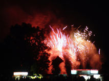 Fireworks exploding behind trees. Over consession stand, fourth of july, easthampton, massachusetts Royalty Free Stock Photography