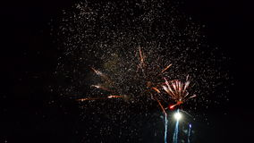 Fireworks exploding in the dark night sky stock footage