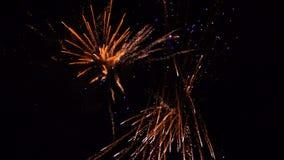 Fireworks exploding in the dark night sky stock video
