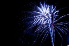 Fireworks exploding on a dark sky/ Fireworks on black background Royalty Free Stock Photo