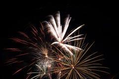 Fireworks exploding on a dark sky/ Fireworks on black background Royalty Free Stock Images