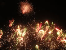 Fireworks exploding at night. Scenic view of colorful fireworks exploding at night stock images
