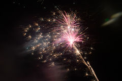 Fireworks exploding at night Royalty Free Stock Image
