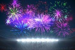 Fireworks exploding over football stadium. Digitally generated fireworks exploding over football stadium Royalty Free Stock Image