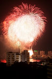 Fireworks Exploding at Pattaya Stock Images