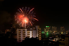 Fireworks Exploding at Pattaya Royalty Free Stock Images