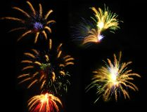 Fireworks exploding in sky Royalty Free Stock Images