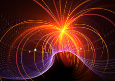 Fireworks explosion. Beautiful 3D rendered fractal over black background Stock Images