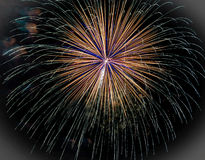 Fireworks Explosion in Brookfield, WI. Fireworks explosion on the fourth of July in Brookfield, Wisconsin - Milwaukee Stock Image