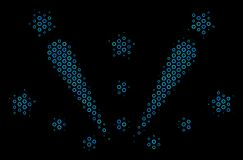 Fireworks Explosion Composition Icon of Halftone Bubbles. Halftone Fireworks explosion composition icon of spheres in blue color tints on a black background Royalty Free Stock Image