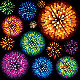 Fireworks and Explosion 3D  Design Element. Colorful Fireworks and Explosions. 3D  Design Element Royalty Free Stock Photo