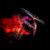 Fireworks. Explosion detail at Sardinero beach (Santander, Cantabria Stock Images