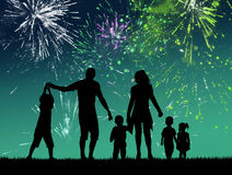 Fireworks explosion. Illustration of people looking the fireworks explosion Royalty Free Stock Photography