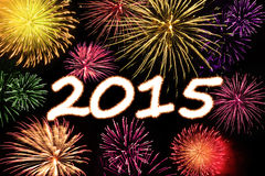Fireworks explosion of new year 2015 Stock Photo