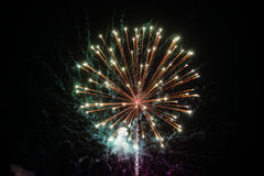 Fireworks explosion at night sky background. Holiday bright salute. Round fireworks explosion at night sky background. Holiday bright salute sparkles in the dark Royalty Free Stock Images