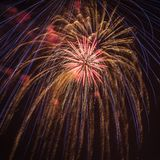 Fireworks explosion in the sky. Fireworks display on Fourth of July in Brookfield, Wisconsin Royalty Free Stock Photo