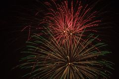 Fireworks explosion in the sky. An explosion of fireworks on the Fourth of July in Brookfield Wisconsin Stock Images