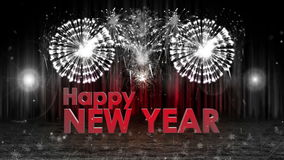 Fireworks explosion to Happy new year stage pan cam COLORLESS vector illustration