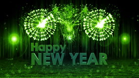 Fireworks explosion to Happy new year stage pan cam GREEN stock illustration