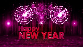 Fireworks explosion to Happy new year stage pan cam PURPLE stock footage