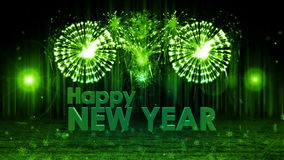 Fireworks explosion to Happy new year stage still cam GREEN royalty free illustration
