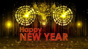 Fireworks explosion to Happy new year stage still cam YELLOW stock video footage