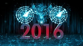 Fireworks explosion to 2016 stage still cam BLUE stock footage