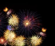 Fireworks explosions on black royalty free stock photography
