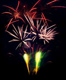 Fireworks explosions isolated on black background Stock Photos