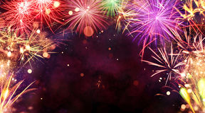 Fireworks Explosions On Black Background Royalty Free Stock Photography