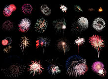 Fireworks Extravaganza Black Stock Image