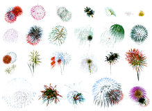 Fireworks Extravaganza White. 25 individual fireworks explosions on white background Stock Images