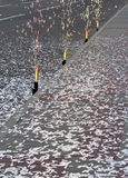Fireworks and falling confetti stock photography
