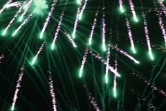 Fireworks Falling Green royalty free stock image