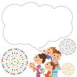 Fireworks family balloon. The close family who enjoys fireworks Royalty Free Stock Photos