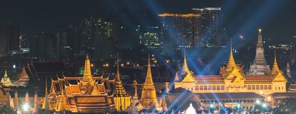 Fireworks on Father`s day at Emerald Buddha, Bangkok, Thailand.  royalty free stock photos