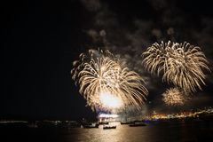 Fireworks for the feast of Nessebar Royalty Free Stock Photography
