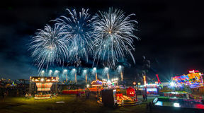 Fireworks festival. And amusement park Stock Images