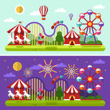 Fireworks festival in the amusement park. Flat design vector day and night landscape illustration of carnival or amusement park with air balloons, sky full of Stock Photos