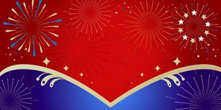 2019 Fireworks festival Patriotic banner. Carnival 2019 Fireworks festival, soccer winner, congratulations, or patriotic national holiday pattern concept with Stock Image