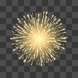 Fireworks. Festival gold firework. Vector llustration on transparent background.  royalty free illustration