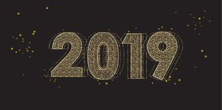 2019 gold glitter text festival defocus night sky. 2019 fireworks festival, happy new year decoration, gold glitter starburst, defocus, defocused lights effect Stock Photography