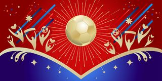 2018 Soccer World Cup RUSSIA FOOTBALL. 2018 World Cup Russia Soccer competition banner with sports football, fan people, fireworks, award cup, goal, soccer ball Royalty Free Stock Images
