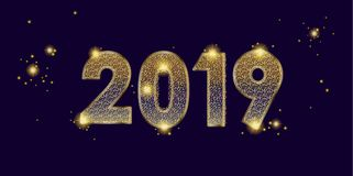 2019 number date gold grunge defocus lights effect. 2019 fireworks festival, happy new year decoration, gold glitter starburst, golden grunge sparkles texture Royalty Free Stock Photography