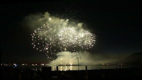 Beautiful fireworks water surface Vancouver stock video footage