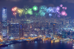 Fireworks Festival over Hong Kong city at night Royalty Free Stock Images